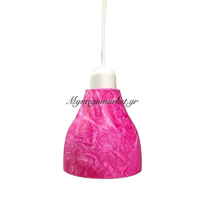 Φωτιστικό Με Γυαλί Και Καλώδιο, Ροζ Χρώμα, Διαμ.14Cm,ta-68414Ps | Mymegamarket.gr