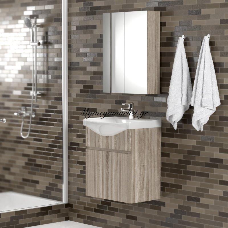 Σετ Μπάνιου, Odelia 55,κρεμαστό Έπιπλο Με Νιπτήρα Και Καθρέπτη Ντουλάπι, Set-Odelia55 Στην κατηγορία Έπιπλα μπάνιου | Mymegamarket.gr