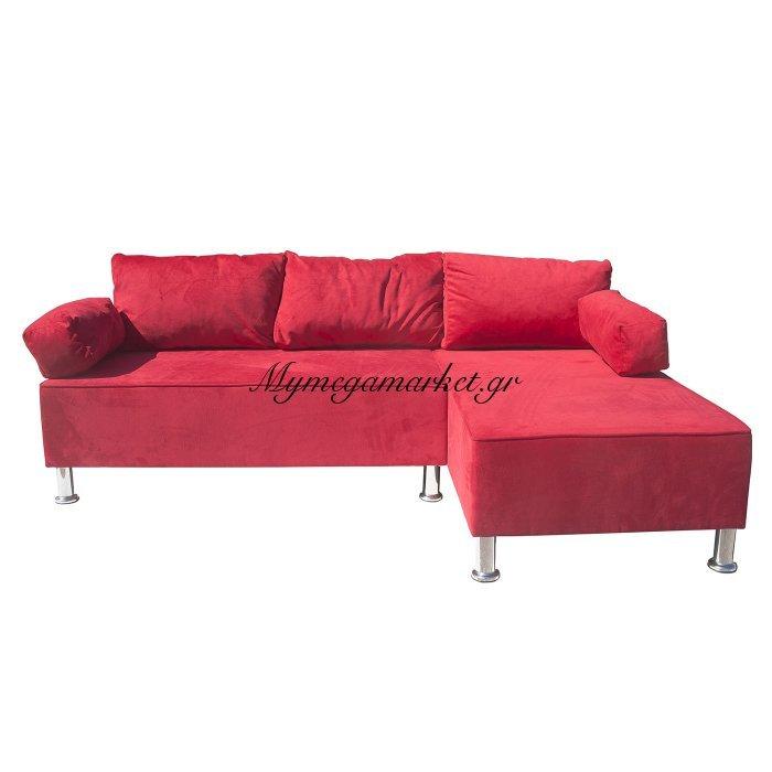 Γωνιακός Καναπές Kivar, Κόκκινο Βελούδο Με Αναστρέψιμη Γωνία 190X120X70 Adam-Soh01Kivar | Mymegamarket.gr