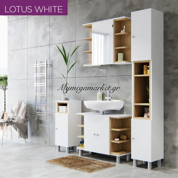 Σετ Μπάνιου Lotus Σε Χρώμα Λευκό-Σονόμα Με Πάγκο Μπάνιου , Καθρέπτη, Ντουλάπι Και  Στήλη Μπάνιου, Set-Lotuswh | Mymegamarket.gr