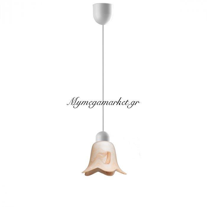 Φωτιστικό Μονόφωτο Με Γυαλί Χρώμα Μελί Με Νερά Και Λευκό Καλώδιο, Διάμ 11*75 Top-9052-1 | Mymegamarket.gr