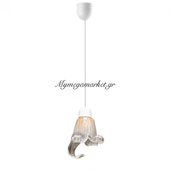 Φωτιστικό Μονόφωτο Με Γυαλί Χρώμα Μελί Με Μύτη Και Λευκό Καλώδιο, Διάμ 11*75  Top-9053-1 | Mymegamarket.gr
