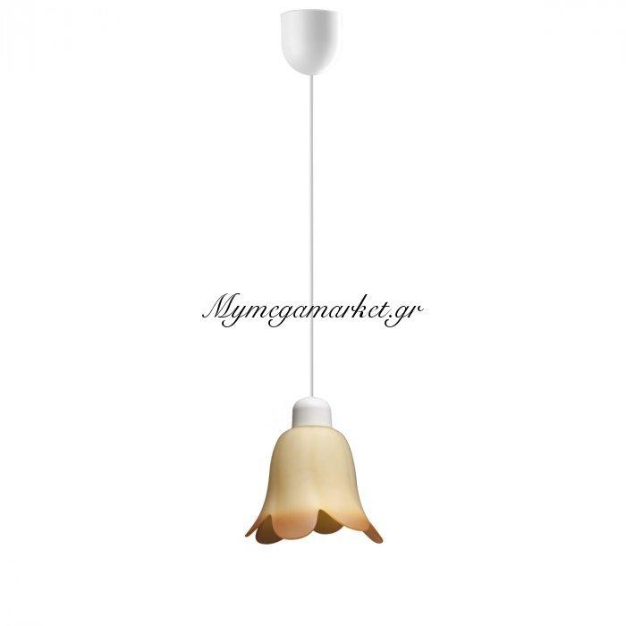 Φωτιστικό Μονόφωτο Με Γυαλί Χρώμα Μελί Τουλίπα Και Λευκό Καλώδιο, Διάμ 11*75   Top-9054-1 | Mymegamarket.gr