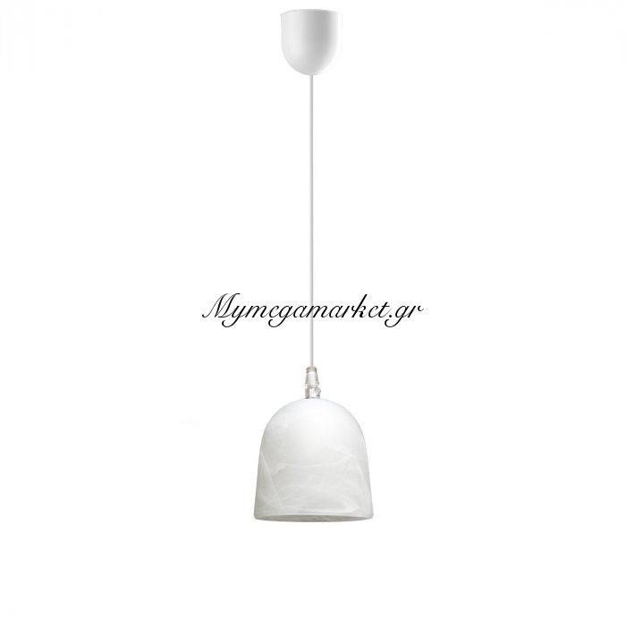 Φωτιστικό Μονόφωτο Με Γυαλί Χρώμα Λευκό Με Νερά Και Λευκό Καλώδιο,  Διάμ 11*75 Top-9055-1 | Mymegamarket.gr