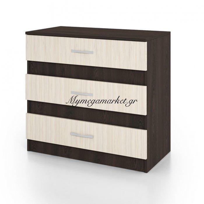 Συρταριέρα City3001 Με 3 Συρτάρια 80X43,5X76, Χρώμα Wenge-Sonoma. Ir-City3001Wege | Mymegamarket.gr