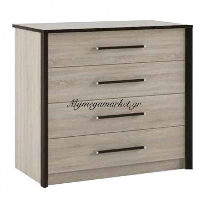Συρταριέρα Scarlet 80X46X82 Με 4 Συρτάρια, Mdf Διακόσμηση, Sonoma-Wenge So-Scakom800 | Mymegamarket.gr