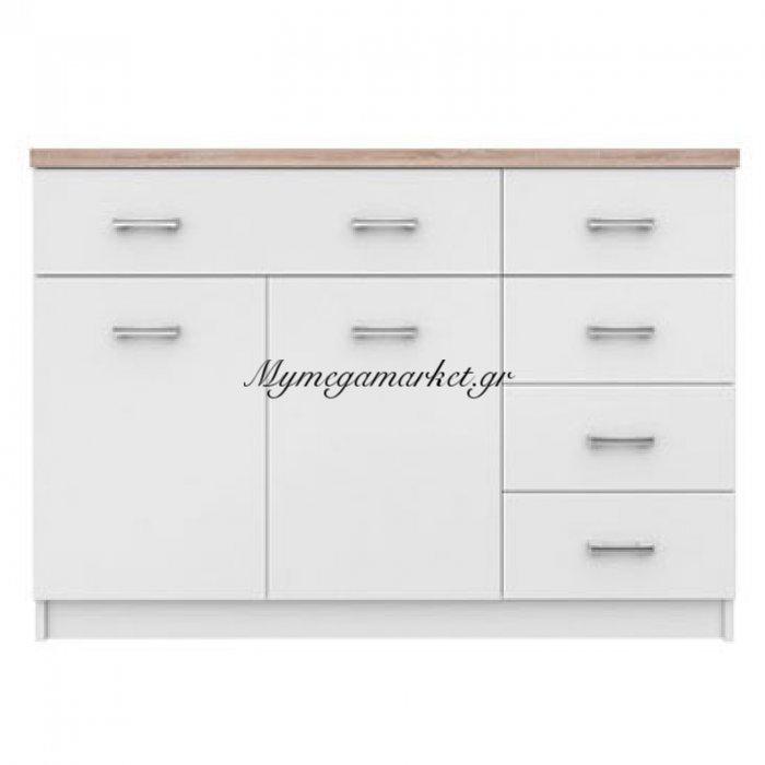 Μπουφές 120X33X85 Top Mix 2D5S Λευκό- Sonoma, Μέ 5 Συρτάρια To-Kom2D5Swh | Mymegamarket.gr
