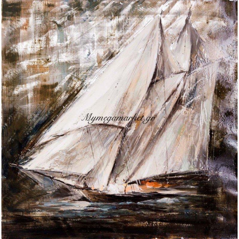 Πίνακας Με Φύλλο Αλουμινίου Και High Gloss, Πλοίο, 100X100 Εκ . W-150192B