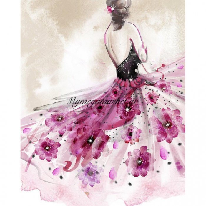 Πίνακας Με Strass, Φόρεμα Με Λουλούδια, 40X50 Εκ . W-9750A | Mymegamarket.gr