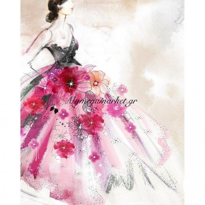 Πίνακας Με Strass, Φόρεμα Με Λουλούδια, 40X50 Εκ . W-9750B | Mymegamarket.gr