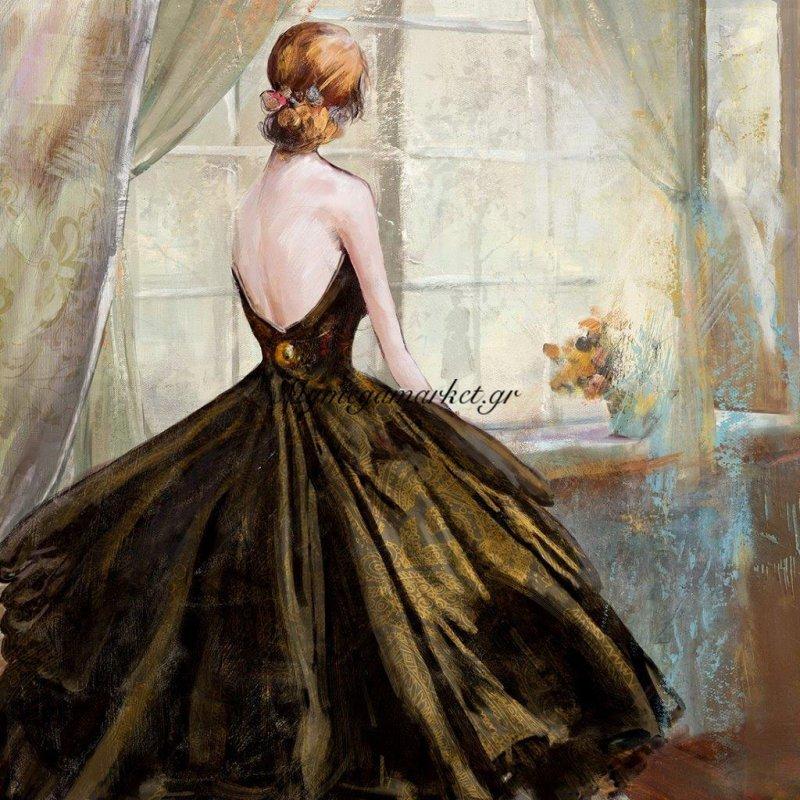 Πίνακας Με Φύλλο Χρυσού, Το Κορίτσι Με Το Φόρεμα, 100X100 Εκ . W-9922A