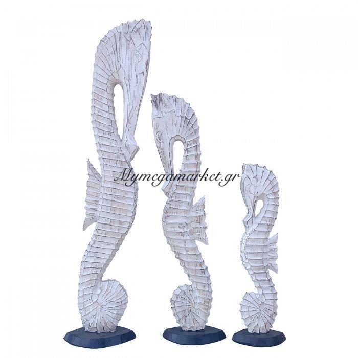 Ξύλινοι Ιππόκαμποι Σετ 3 Τμχ, Ύψος 60/80/100 Εκ, Χρώμα Λευκό Αντικέ. Ab-Ab004 | Mymegamarket.gr
