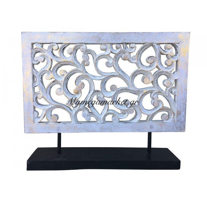 Σκαλιστό Ξύλινο Διακοσμητικό, 50X45 Εκ, Χρώμα Λευκό Αντικέ Με Χρυσό. Ab-Ab027 | Mymegamarket.gr