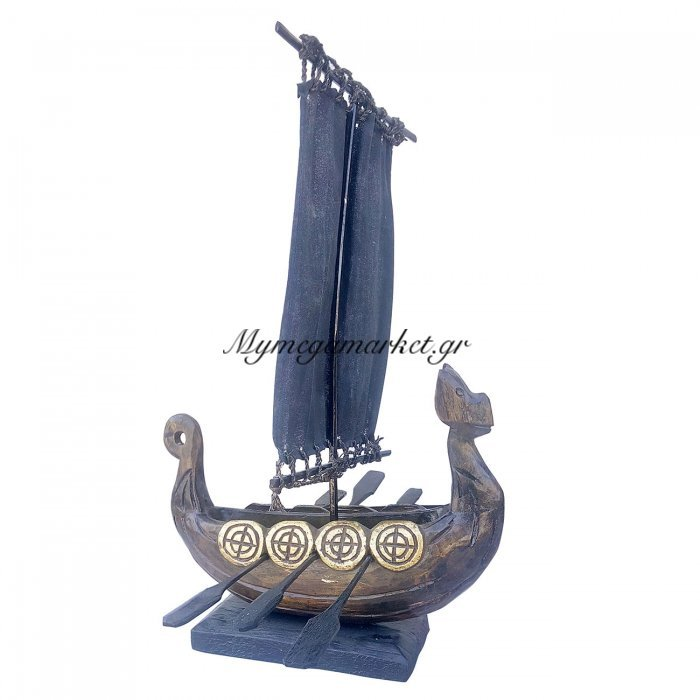 Καράβι Ξύλινο, 30X50 Εκ, Χρώμα Καφέ Με Χρυσό. Ab-Ab030 | Mymegamarket.gr
