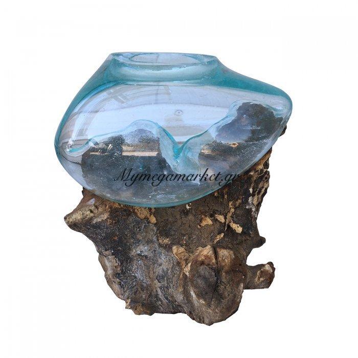 Ρίζα Ξύλινη Με Φυσητό Γυαλί(Μικρό), 20X20X15, Χρώμα Φυσικό. Ab-Ab065 | Mymegamarket.gr