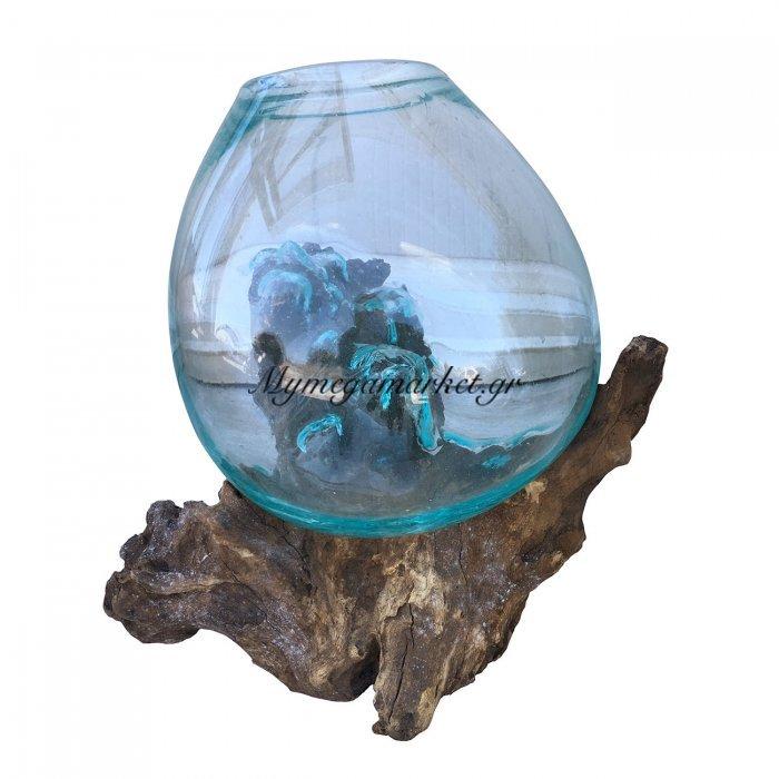 Ρίζα Ξύλινη Με Φυσητό Γυαλί(Μεσαίο), 20X20X25, Χρώμα Φυσικό. Ab-Ab066 | Mymegamarket.gr