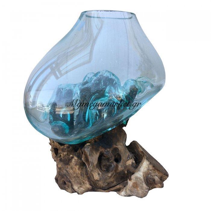 Ρίζα Ξύλινη Με Φυσητό Γυαλί(Μεγάλο), 25X25X45 Εκ, Χρώμα Φυσικό. Ab-Ab067 | Mymegamarket.gr