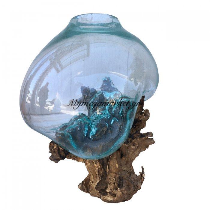 Ρίζα Ξύλινη Με Φυσητό Γυαλί(Xlarge), 35X35X55 Εκ, Χρώμα Φυσικό. Ab-Ab068 | Mymegamarket.gr