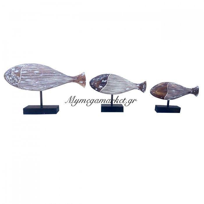 Ψάρια Ξύλινα Σετ 3 Τμχ, Ύψος 25/30/40 Εκ, Χρώμα Σκούρο Καφέ. Ab-Ab079 | Mymegamarket.gr