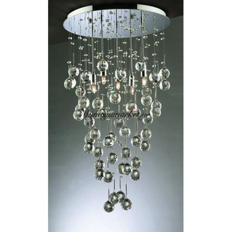 Φωτιστικό Οροφής Κρεμαστό Φωτιστικό, Χρώμιο Με Κρύσταλλα, 8 Λάμπες Τύπου G9 (Max 40 Watt, Δεν Περιλαμβάνονται), Top-1368-8