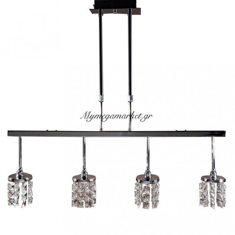 Φωτιστικό Κρεμαστό Φωτιστικό Με 4 Λάμπες G9 (Max 40 Watt, Δεν Περιλαμβάνονται), 80X11X80 Εκ, Χρώμιο Με Τετράγωνα Κρύσταλλα, Top-1711Cc-4