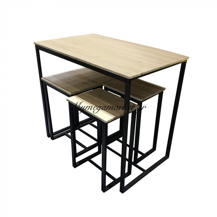 Montana Τραπέζι Set 5Τεμ Sonoma Μαύρο 100X60X86   Mymegamarket.gr