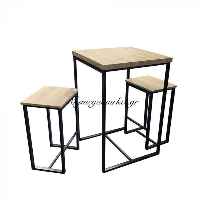 Zenith Τραπέζι Set 3Τεμ Sonoma Μαύρο 60X60X88   Mymegamarket.gr
