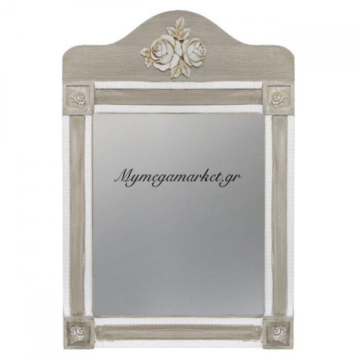 Καθρέπτης Melody Hm7009.02 Λευκός Γκρι Πατίνα 56Χ77.50 Εκ. | Mymegamarket.gr
