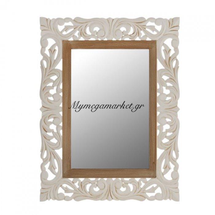 Καθρέπτης Priamo Εκρού Καφέ Πατίνα Hm7014.01 60X80 Εκ. | Mymegamarket.gr