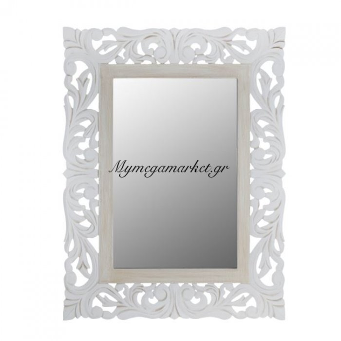 Καθρέπτης Priamo Hm7014.02 Λευκός Γκρι Πατίνα 60X80 Εκ. | Mymegamarket.gr