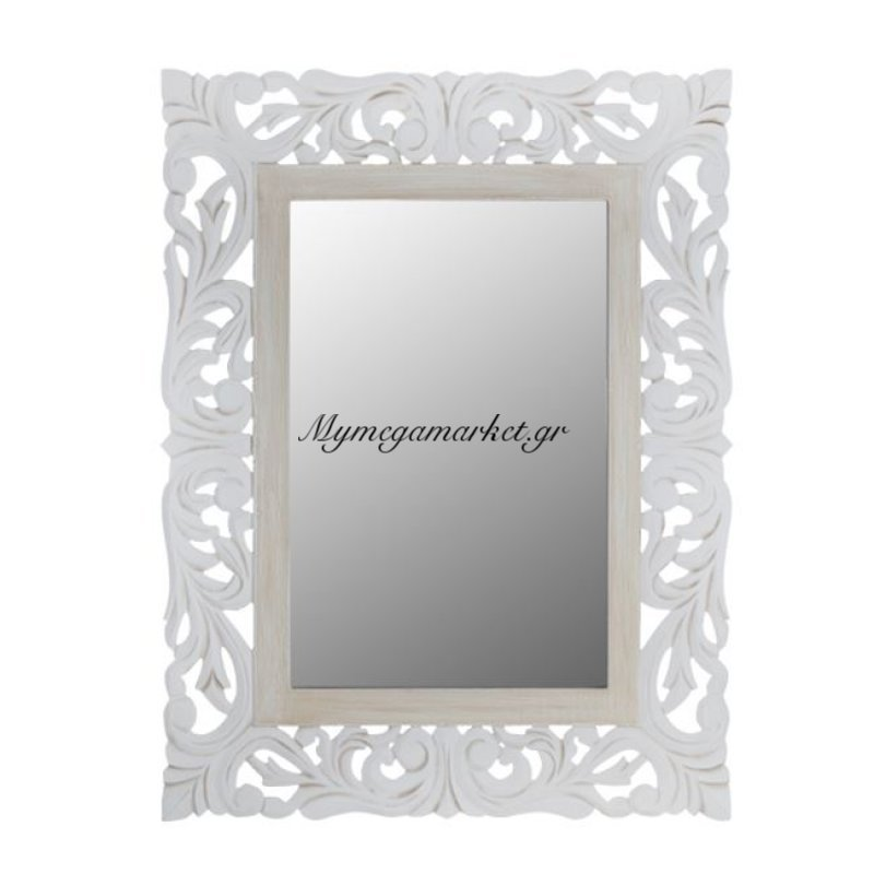 Καθρεπτησ Priamo Hm7014.02 Λευκοσ Γκρι Πατινα  60X80 Εκ.
