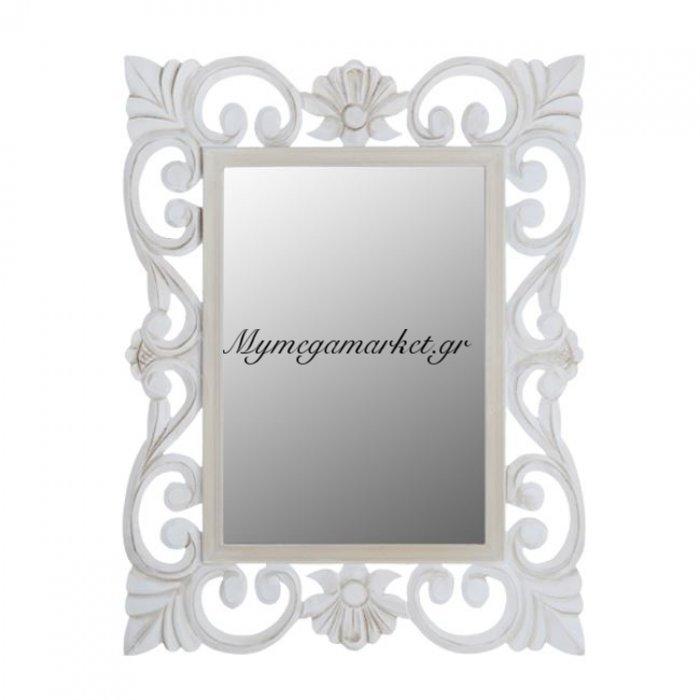 Καθρέπτης Firenze Hm7015.02 Λευκός Γκρι Πατίνα 60Χ80 Εκ. | Mymegamarket.gr