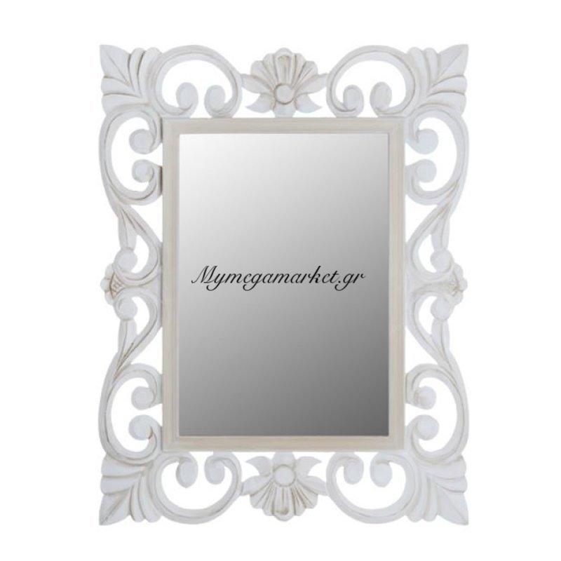 Καθρέπτης Firenze Hm7015.02 Λευκός Γκρι Πατίνα 60Χ80 Εκ.