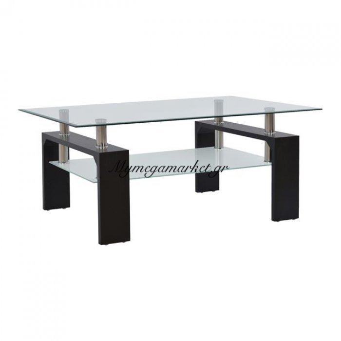 Τραπέζι Σαλονιού Hm0013.02 Γυαλί+Ξύλο Μαύρο 100Χ60Χ43Εκ. | Mymegamarket.gr
