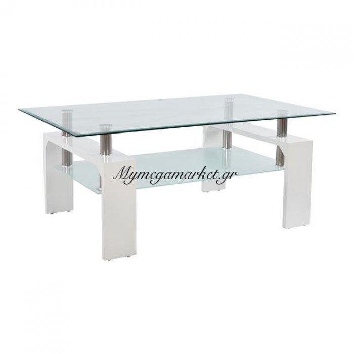 Τραπέζι Σαλονιού Hm0013.01 Με Γυαλί Και Ξύλο Λευκό 100X60X43Εκ | Mymegamarket.gr