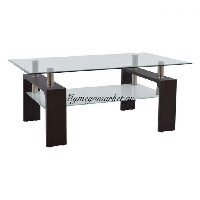 Τραπέζι Σαλονιού Hm0013.30 Με Γυαλί Και Ξύλο Βέγγε 100Χ60Χ43 Εκ. | Mymegamarket.gr