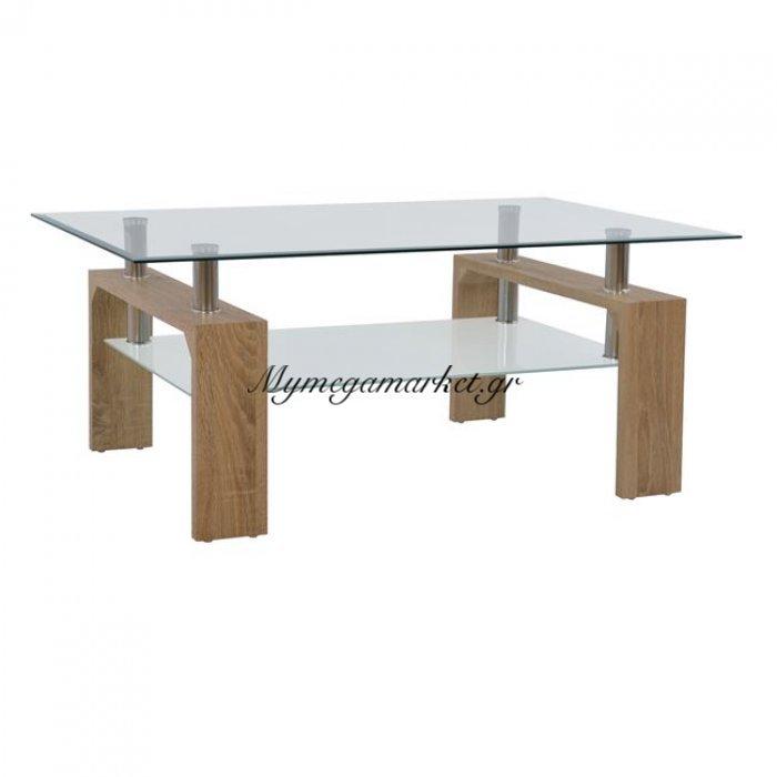 Τραπέζι Σαλονιού Hm0013.32 Γυαλί+Ξύλο Sonama 100X60X43 Εκ. | Mymegamarket.gr