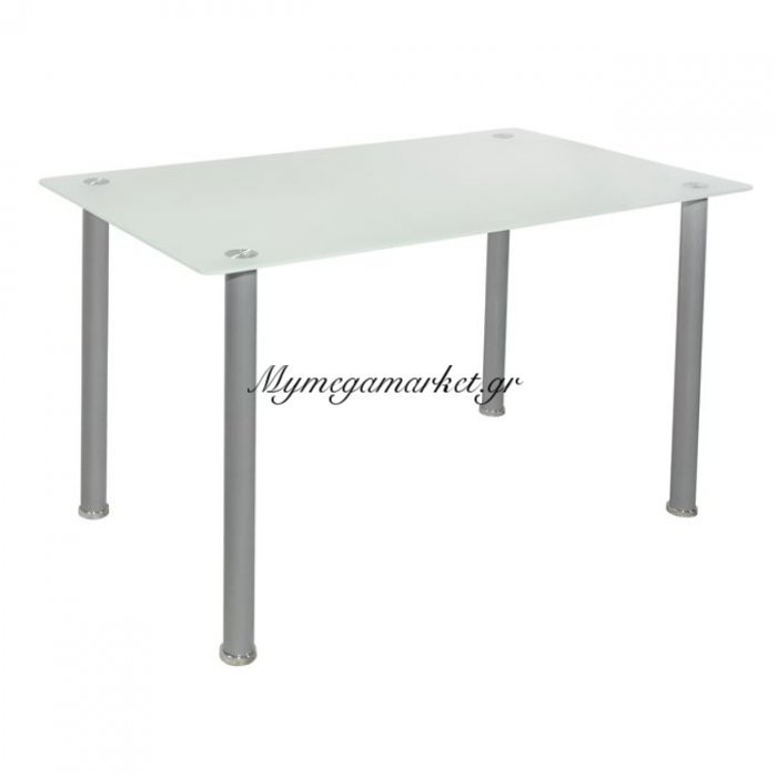 Τραπέζι Alan 120Χ70Χ75 Hm0084 Γυάλινο Με Πόδια Μάτ Ασημί | Mymegamarket.gr