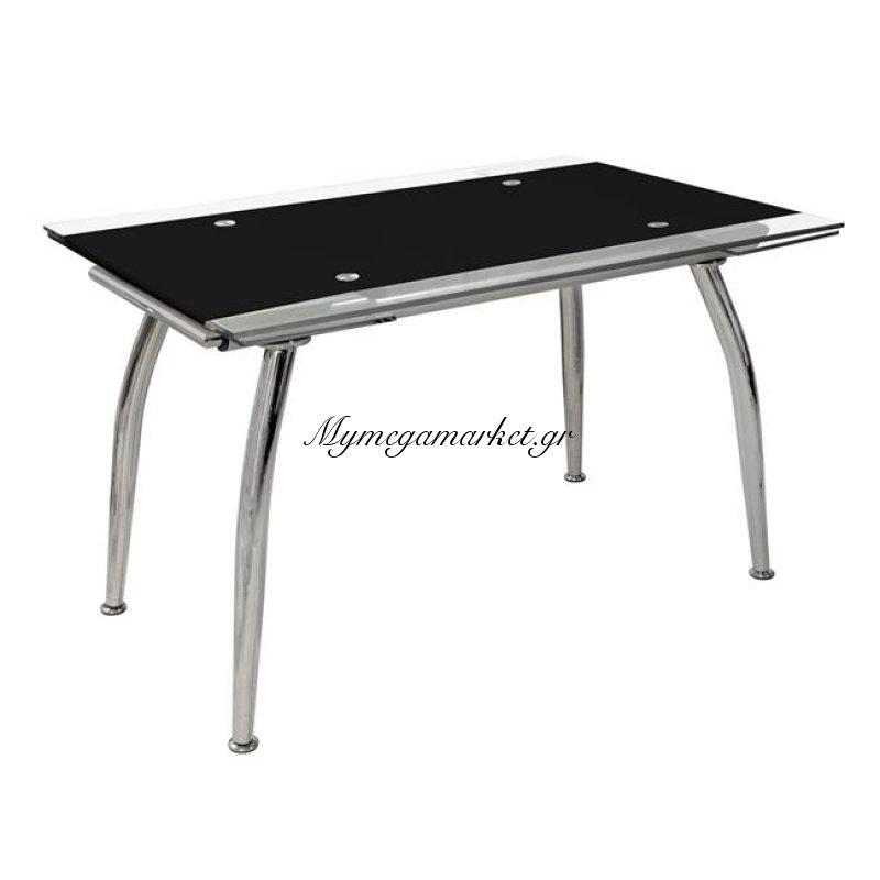 Τραπέζι Loca Ανοιγόμενο 120(25+25)Χ80Χ75 Hm0085.02 Γυάλινο Μαύρο