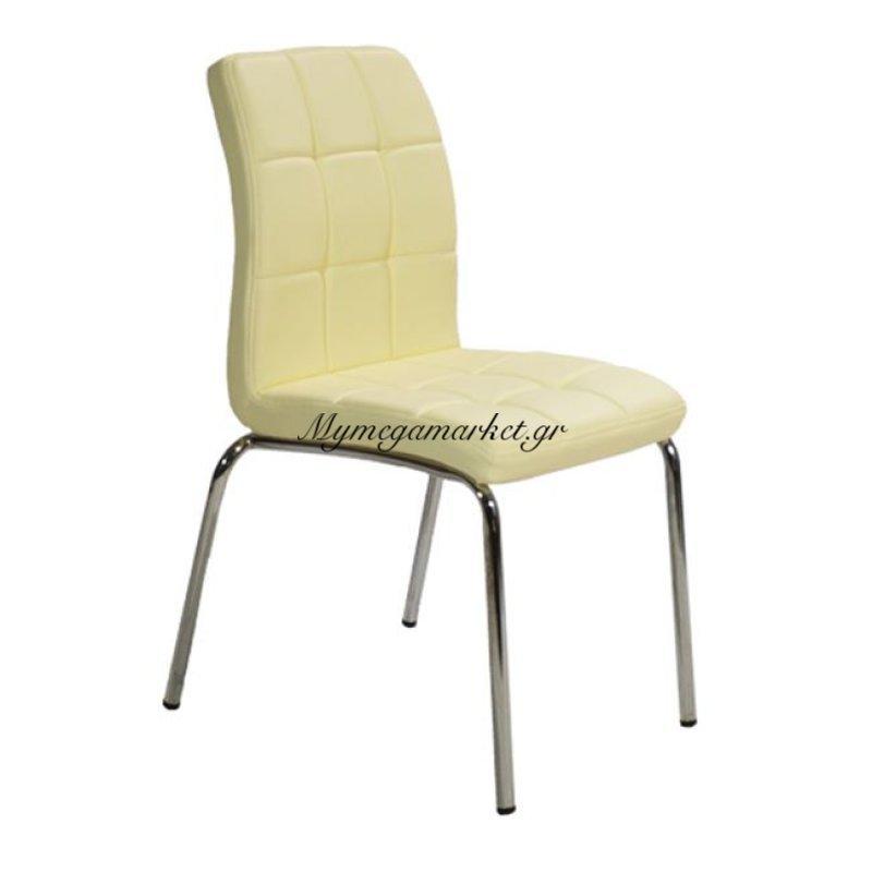 Καρέκλα Karina Hm006.01 Νίκελ Σκελετό Με Κάθισμα Pu Εκρού