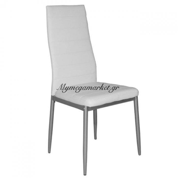 Καρέκλα Κουζίνας Lady Hm0037.01 Λευκό Pu Μεταλλικό Σκελετό K/D | Mymegamarket.gr