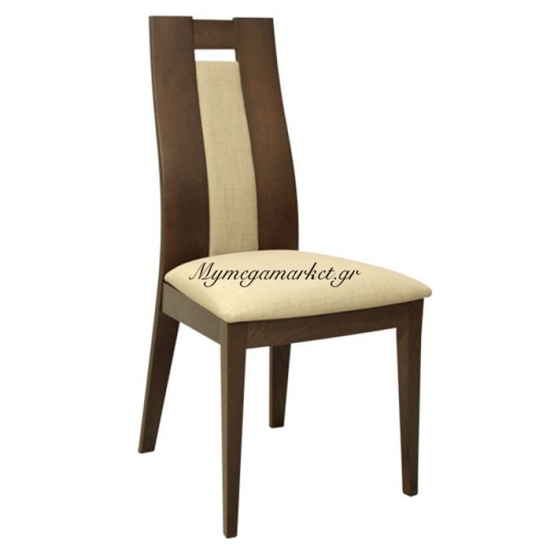 Καρέκλα Ξύλινη Μασίφ Hm0068.01 Καρυδί Με Μπεζ Ύφασμα