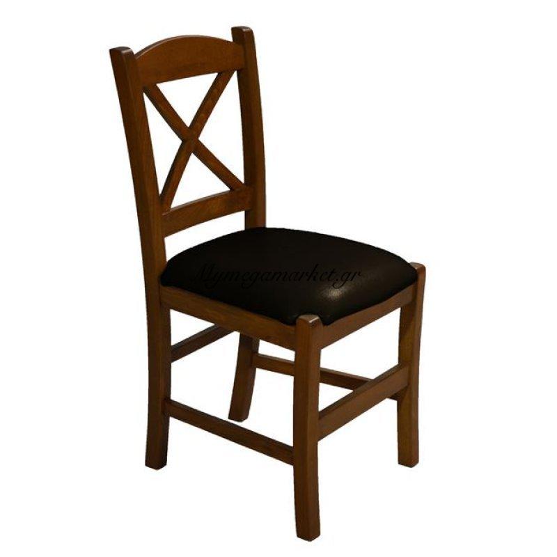 Καρέκλα Μασίφ Οξιά Καρυδί Με Μαύρο Κάθισμα Rio Χιαστή Hm10095.02