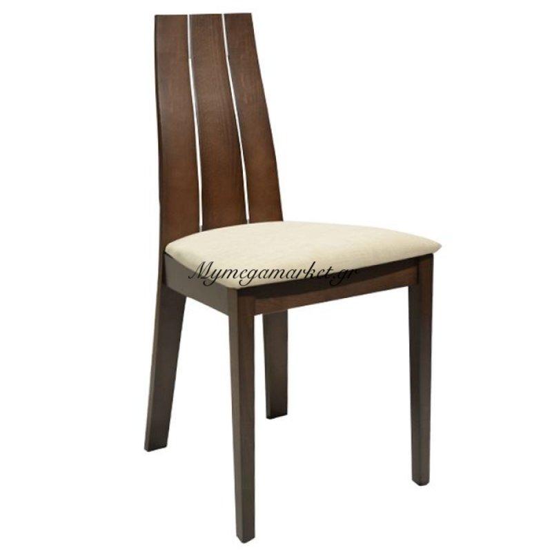 Καρέκλα Ξύλινη Μασίφ Σκούρο Καρυδί & Εκρού Ύφασμα Hm0094.01