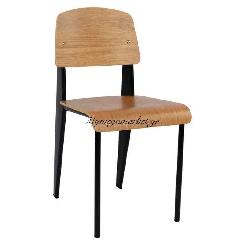 Καρέκλα Μεταλλική Old School Μαύρη Με Φυσικό Ξύλο Hm0139