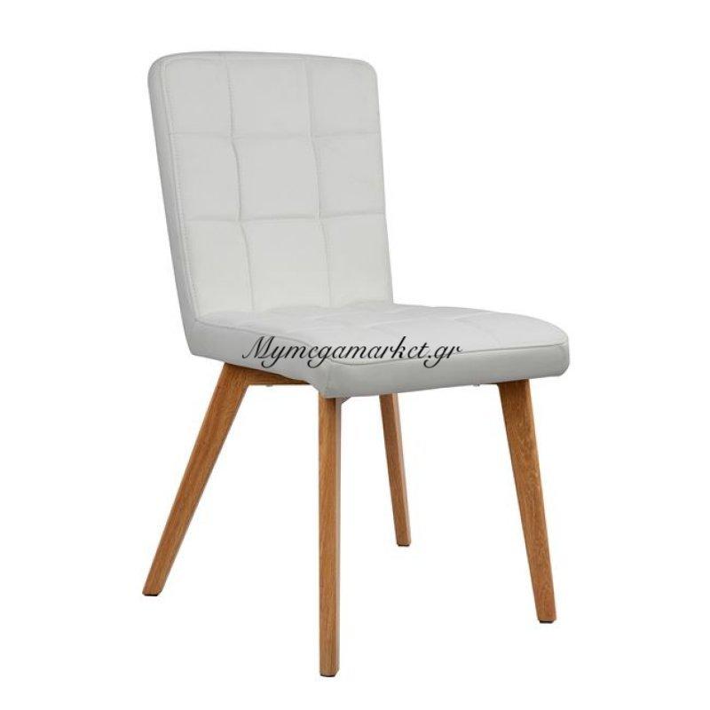 Καρέκλα Boston Hm0145.01 Με Pu Λευκό Κ Μεταλλικά Πόδια