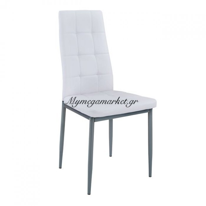 Καρέκλα Κουζίνας Dimi Hm8059.01 Λευκό Pu Με Μεταλλικό Σκελετό | Mymegamarket.gr