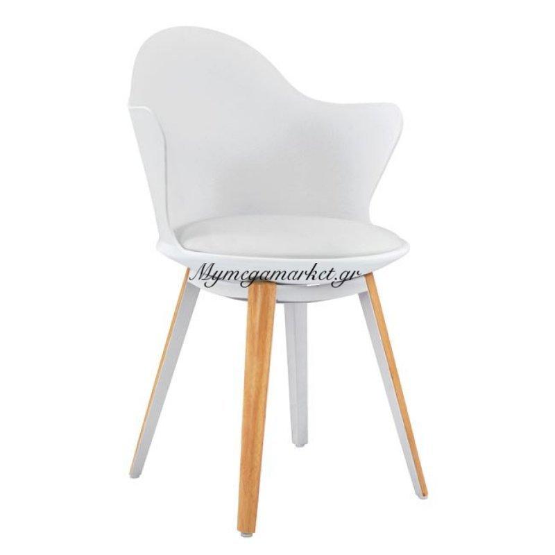 Καρέκλα Τραπεζαρίας Hm8050.01 Moussa Λευκή Με Ξύλινα Πόδια