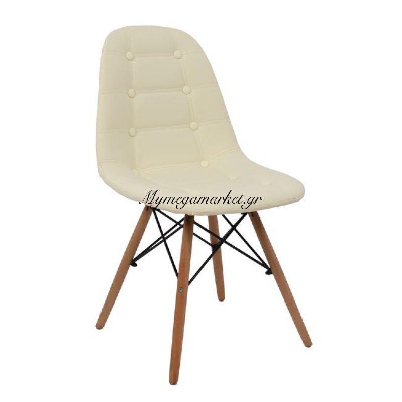Καρέκλα Cosy Hm0034.23 Με Ξύλινα Πόδια Και Κάθισμα Pu Εκρού