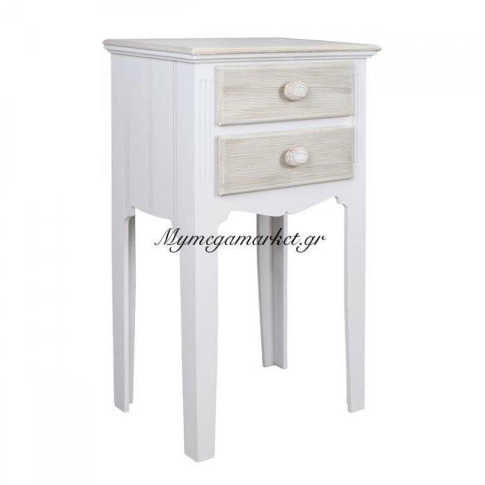 Κομοδίνο Melody Hm7002.02 Λευκό Γκρι Πατίνα 38Χ28Χ69 Εκ. | Mymegamarket.gr